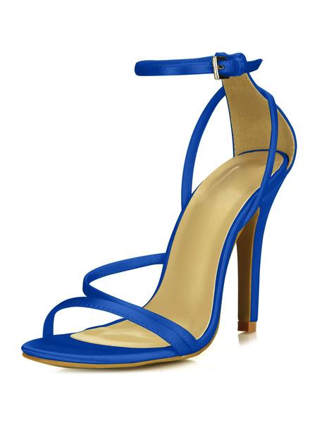 Milanoo High Heel Sandals Womens Satin Open Toe Ankle Strap Stiletto Heels Sandals
