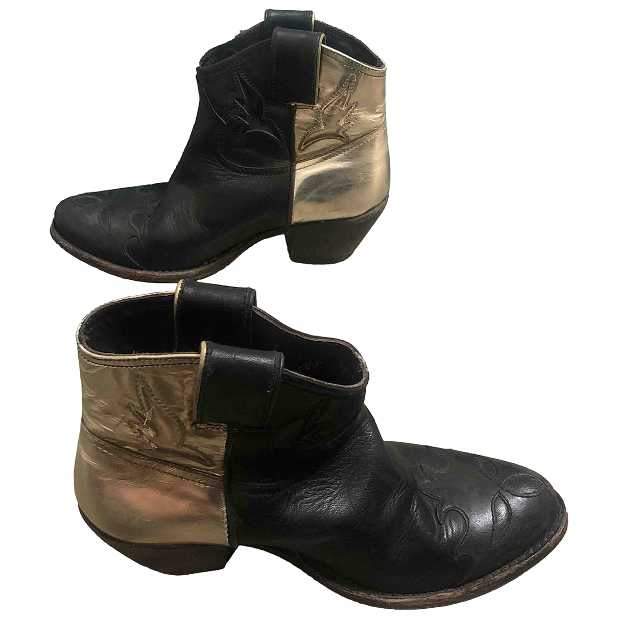 Golden Goose N Black Leather Ankle boots for Women 36 IT
