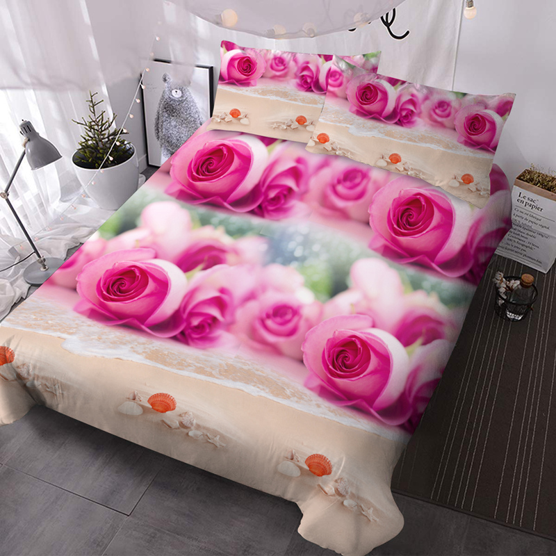 Pink Roses and Beach 3Pcs Microfiber No-Fading Comforter Set 3D Floral Comforter with 2 Pillow Covers