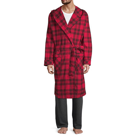 Stafford Flannel Hooded Robe, X-large-xx-large , Red