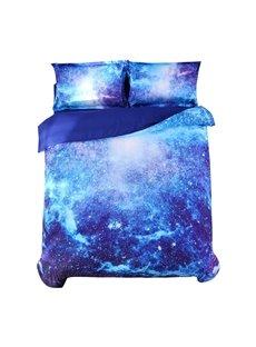 Vivilinen 3D Space Galaxy Printed 5-Piece Fluorescent Blue Comforter Sets