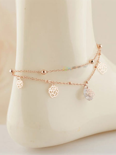 Milanoo Gold Ankle Bracelets Charm Flowers Foot Chains Women's Beach Anklets