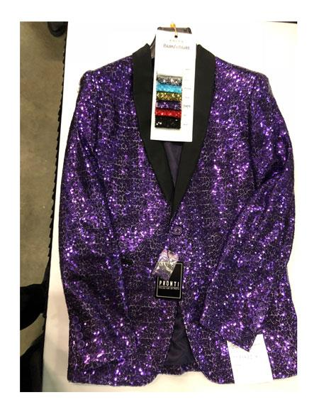 Mens Single Breasted One Button Purple Blazer