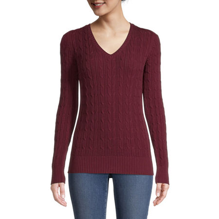 St. John's Bay Cable Womens V Neck Long Sleeve Pullover Sweater, Petite Large , Red