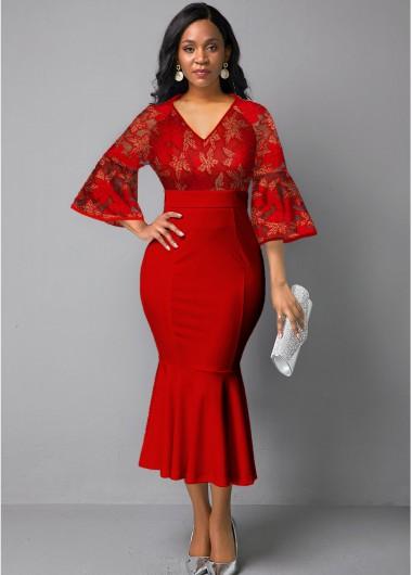 Christmas Rosewe Holiday Dress V Neck Lace Panel Flare Sleeve Mermaid Dress - M