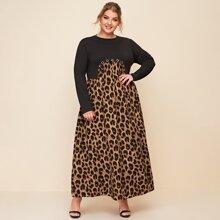 Vestidos Tallas Grandes Ojal De Prenda Leopardo Elegante