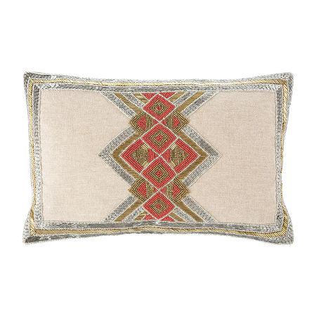 Safavieh Beaded Gold Silver Orange Rectangular Throw Pillow, One Size , Yellow