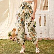 Botanical Print Paperbag Waist Wide Leg Pants