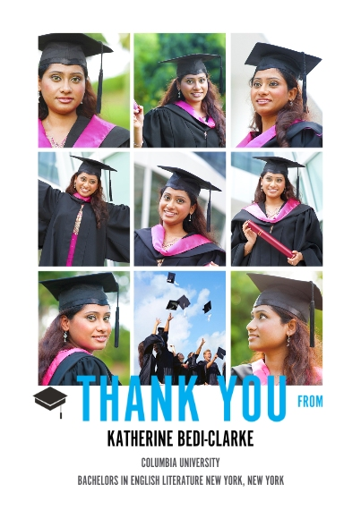 Graduation Thank You Cards 5x7 Cards, Premium Cardstock 120lb with Scalloped Corners, Card & Stationery -The Grad Event Squares Thank You