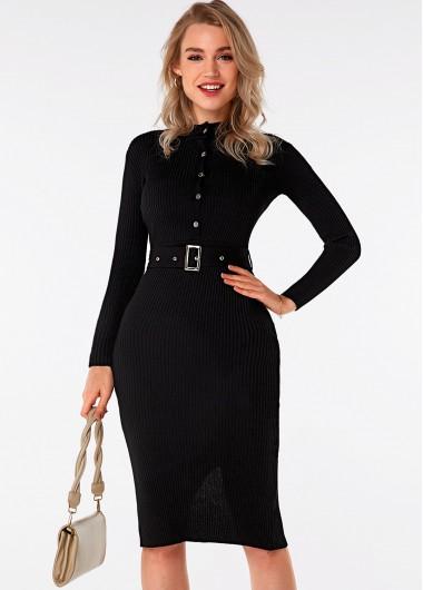 Black Dresses Belted Long Sleeve Button Detail Sweater Dress - XL