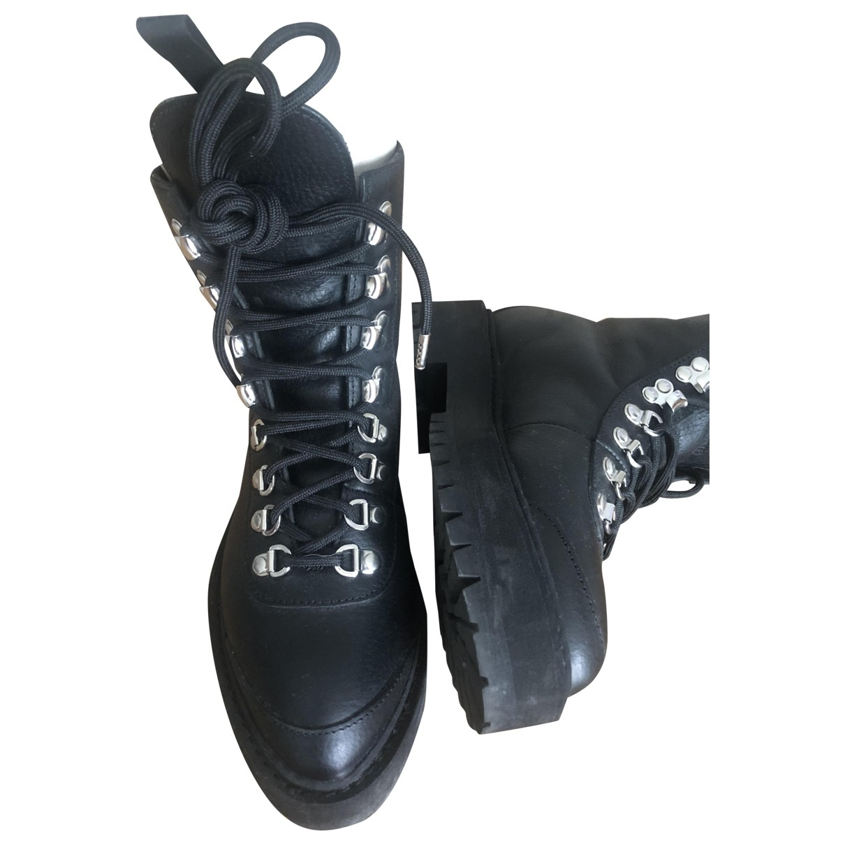 Off-white \N Black Leather Ankle boots for Women 36 EU