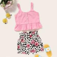 Toddler Girls Peplum Cami Top With Floral Shorts