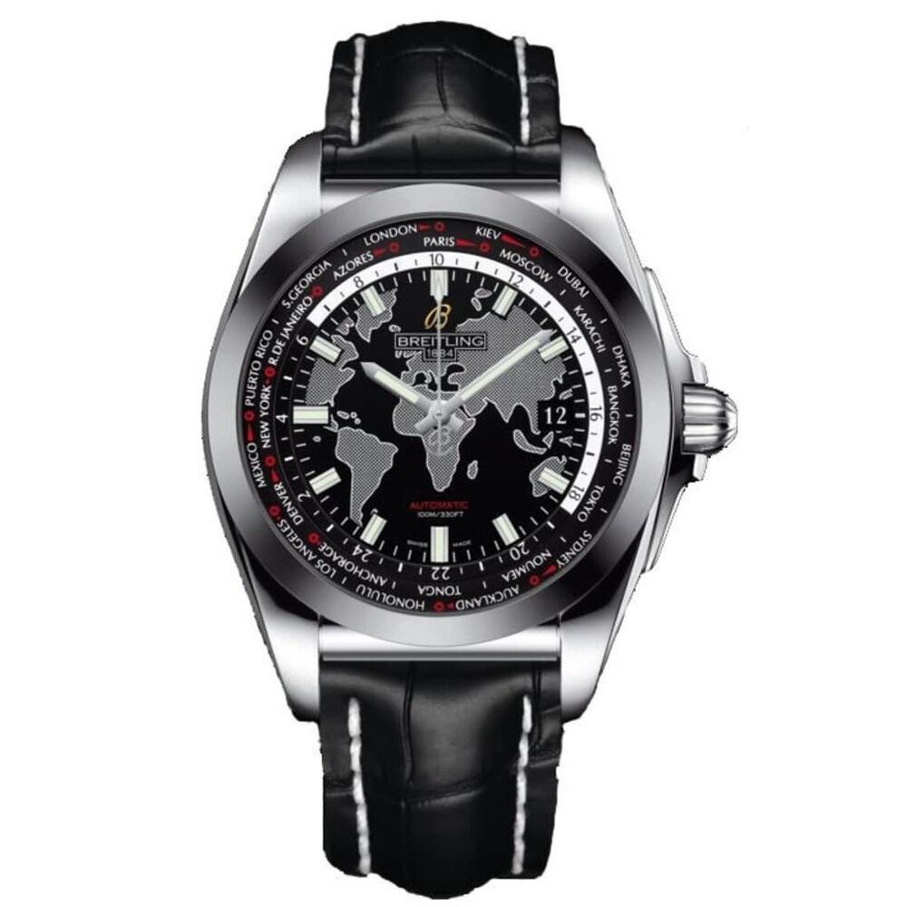 Breitling Men's WB3510U4-BD94-743P 'Galactic Unitime' Black Leather Watch (Black)