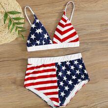 Bikini Badeanzug mit amerikanischer Flagge Muster