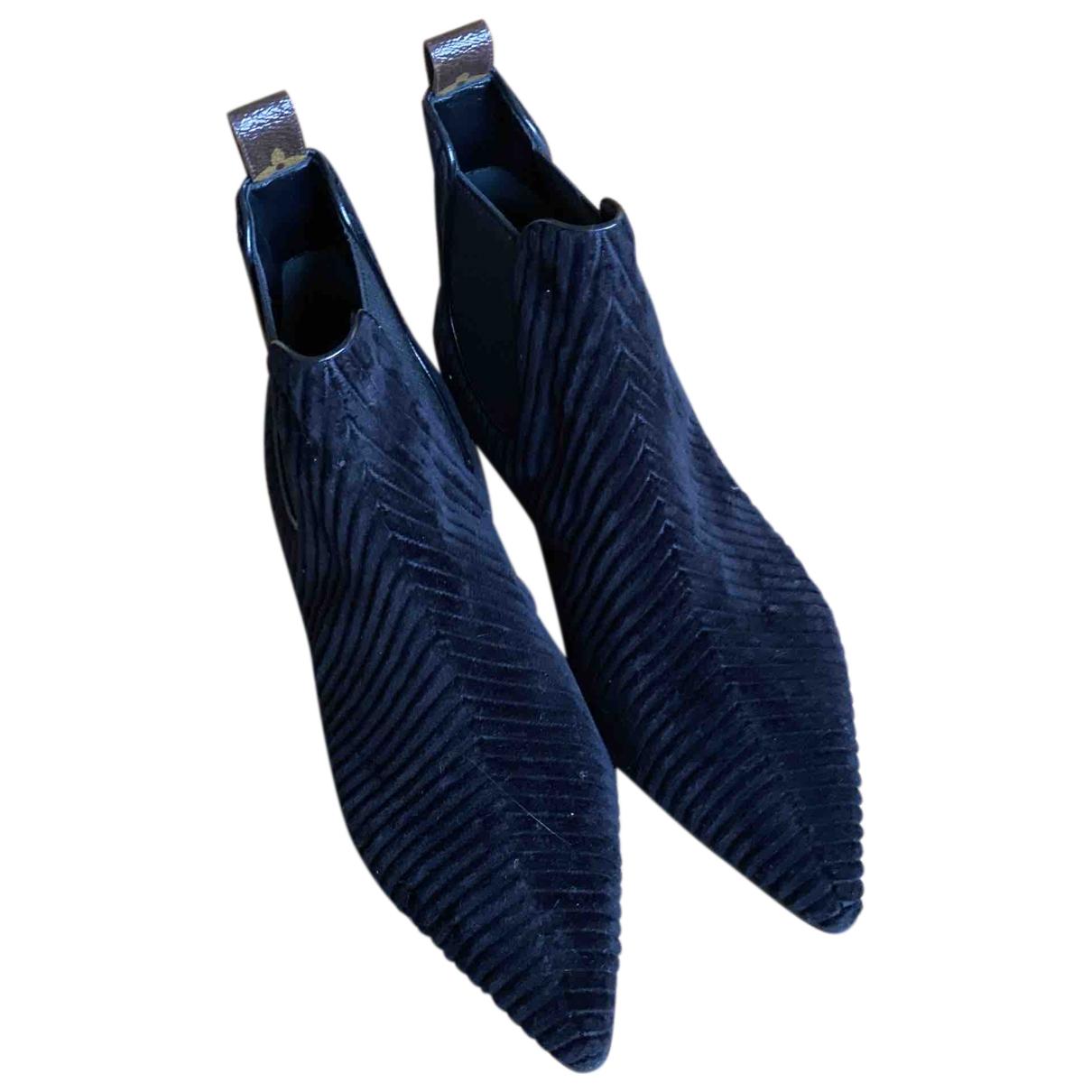 Louis Vuitton \N Stiefeletten in  Schwarz Samt