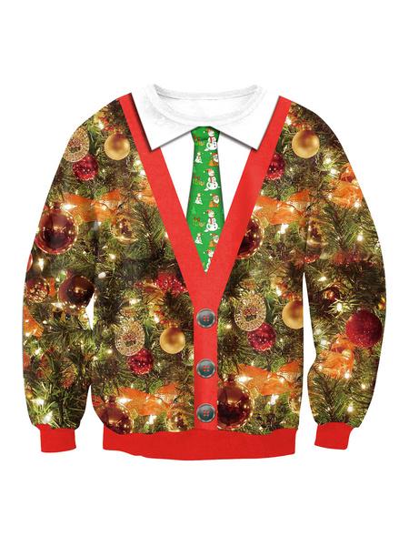 Milanoo Christmas Pullover Sweatshirt 3D Print Ugly Christmas Tops
