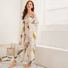 3pack Floral & Birds Print PJ Set & Robe