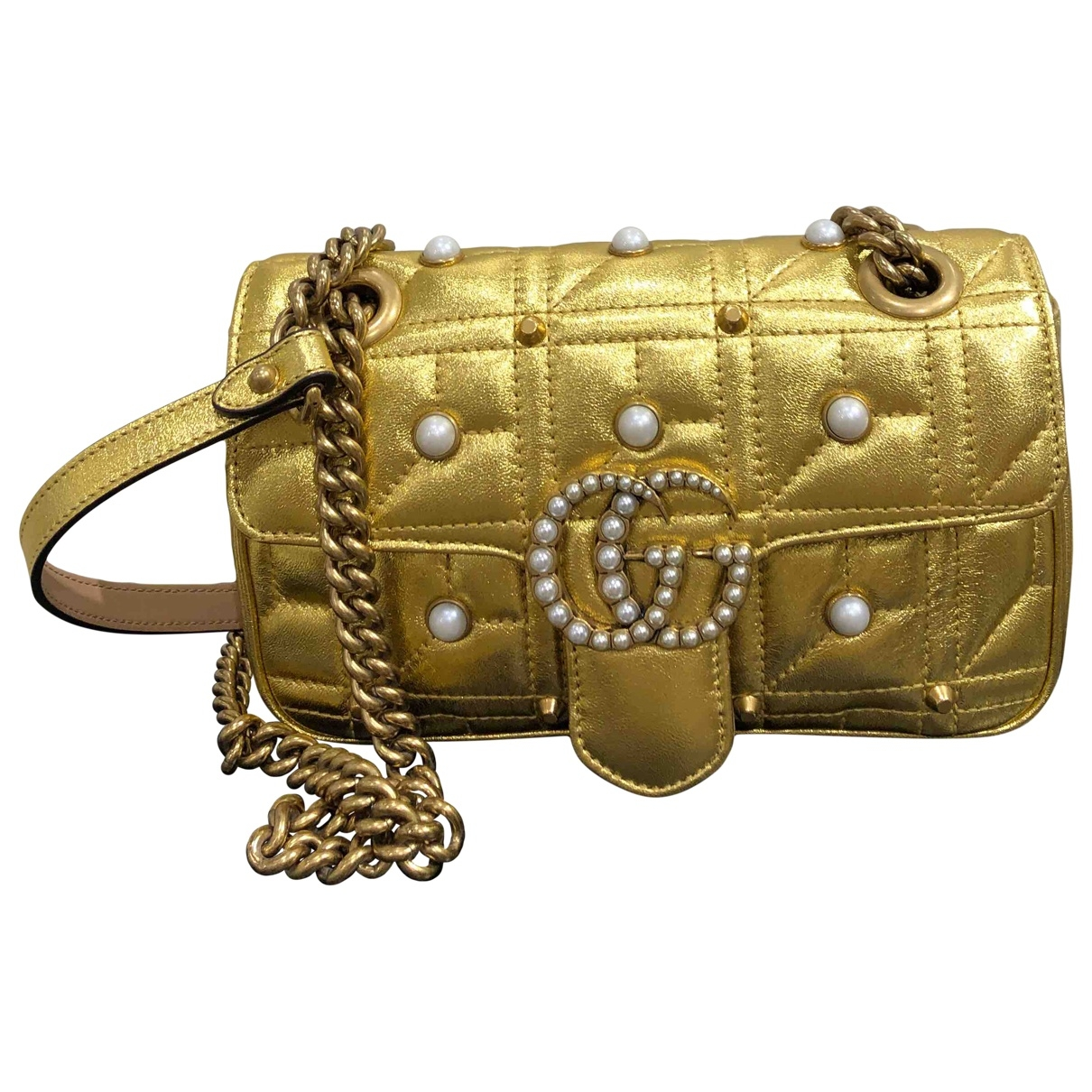 Gucci Marmont Gold Leather handbag for Women \N