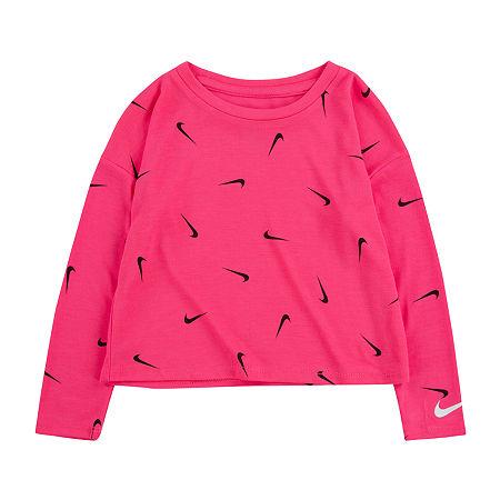 Nike Little Girls Round Neck Long Sleeve T-Shirt, 6 , Pink