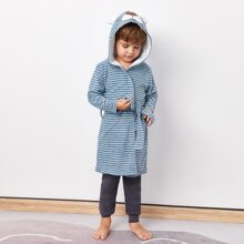 Toddler Boys Cartoon And Striped Print Belt Hooded Lounge Robe