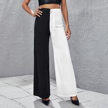 Pantalones de pierna ancha con cinturon con aro D de dos colores