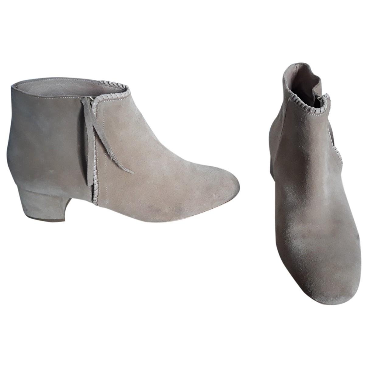 Maje - Boots   pour femme en cuir - beige