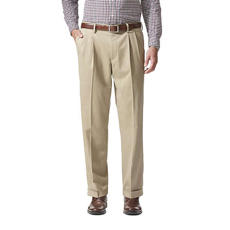Dockers Men's Relaxed Fit Comfort Khaki Cuffed Pants - Pleated D4, 42 32, Beige