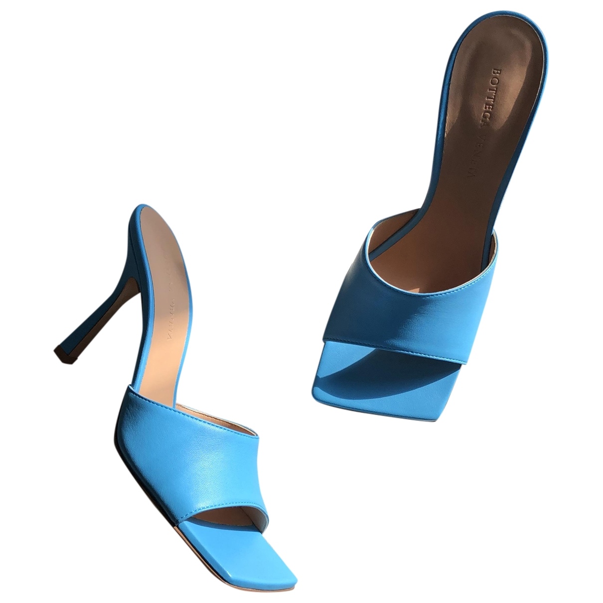 Bottega Veneta - Sandales Stretch pour femme en cuir - bleu