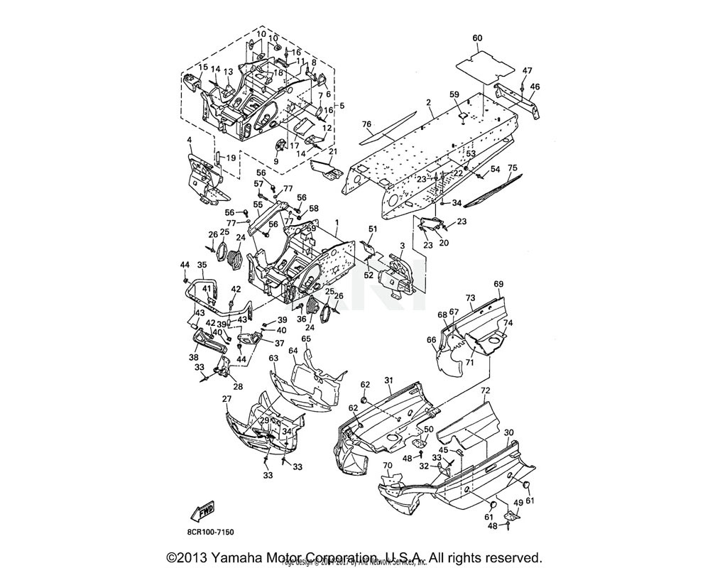 Yamaha OEM 8CR-2195E-00-00 PLATE, STEERING BRACKET 1