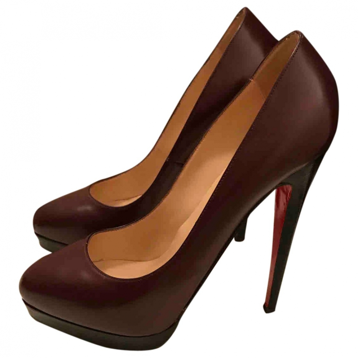 Christian Louboutin \N Burgundy Leather Heels for Women 39.5 EU