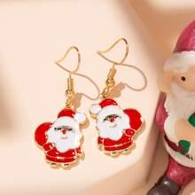 Christmas Santa Claus Charm Drop Earrings