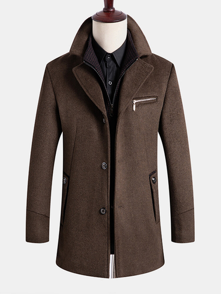 Mens Solid Woolen Single-Breasted Business Casual MId-Length Lapel Overcoat