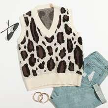 Pulloverweste mit Grafik Muster