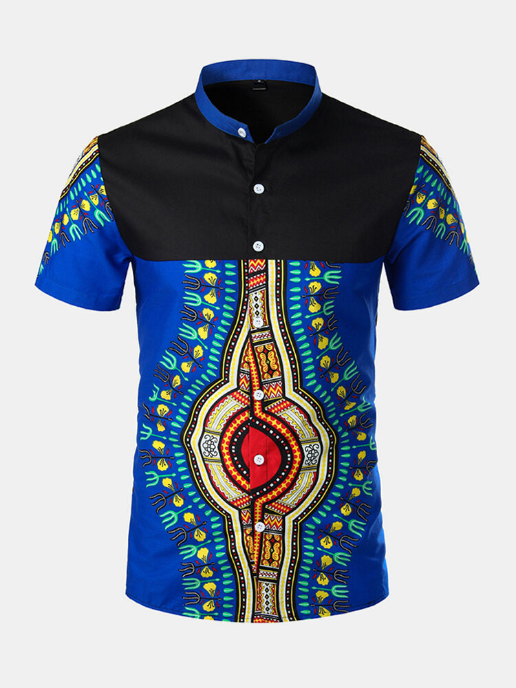 Mens Ethnic Style Printed Patchwork Short Sleeve Summer Breathable Casual Shirt