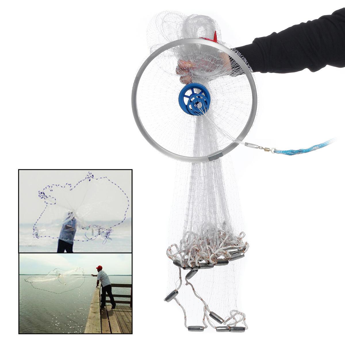 4.2M 14FT Hand Easy Throw Manual Fishing Net Spin Bait Casting Nylon Line Sinker