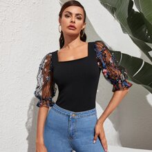 Square Neck Embroidery Mesh Sleeve Top