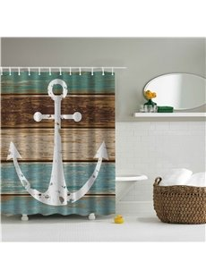 3D Anchor with Colorful Stripe Background Polyester Bathroom Shower Curtain