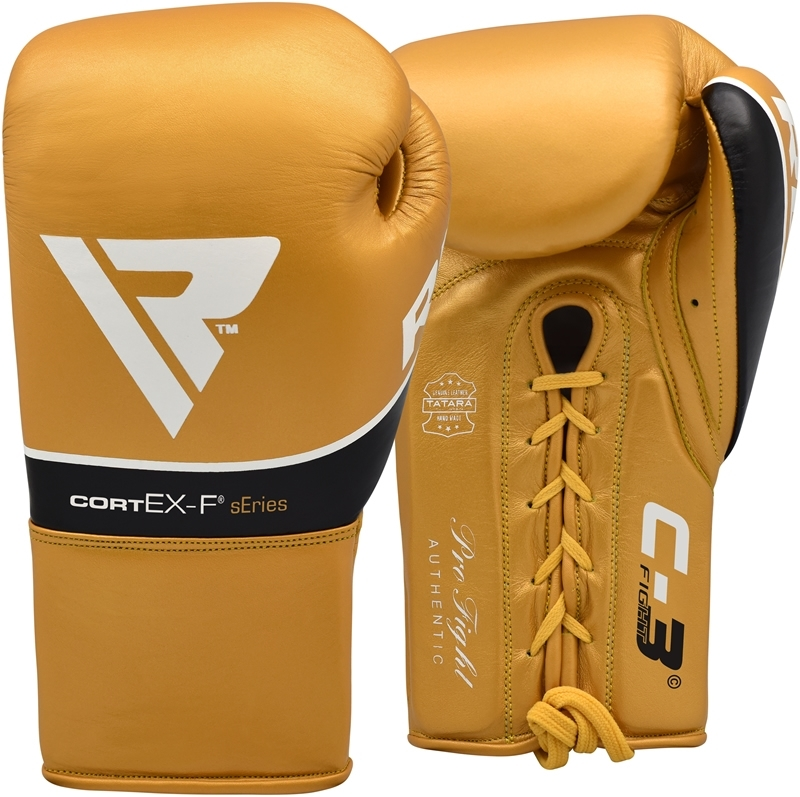 RDX C3 Leather Golden Pro 8oz Boxing Fight Gloves Professional Lace Up Punching Competition for Men and Ladies