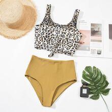 Bikini Badeanzug mit Leopard Muster und Knoten