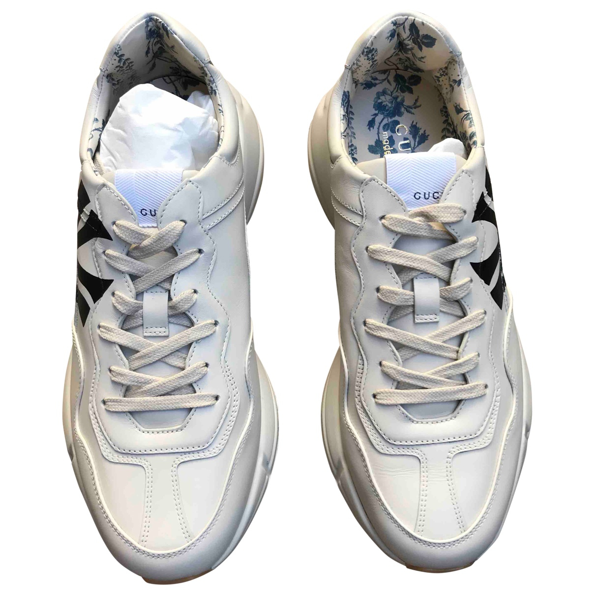 Gucci Rhyton White Leather Trainers for Men 42 IT