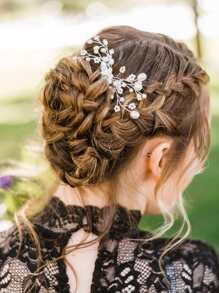 Faux Pearl Decor Floral Hair Pin