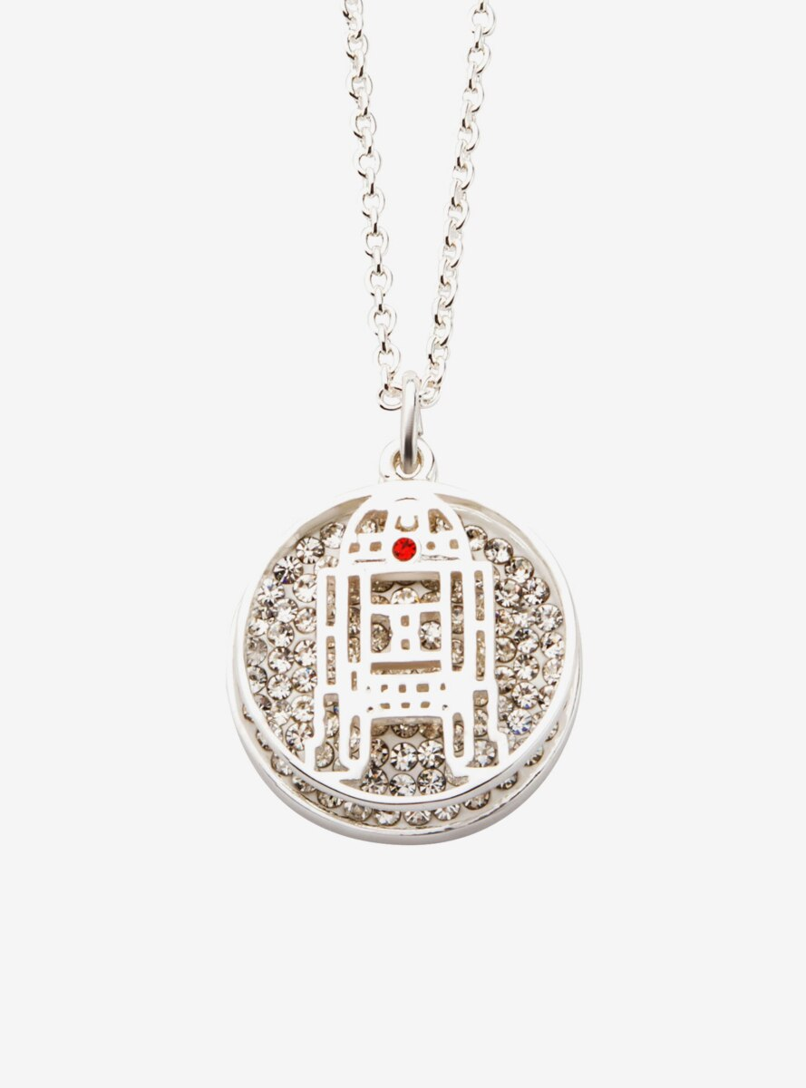 Star Wars Silver Plated R2D2 With Clear Gem Pendant