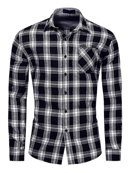Milanoo Camisas para hombres Camisa roja a cuadros con cuello redondo Camisa extragrande con bolsillos