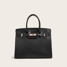 Twist Lock Detail Satchel Bag