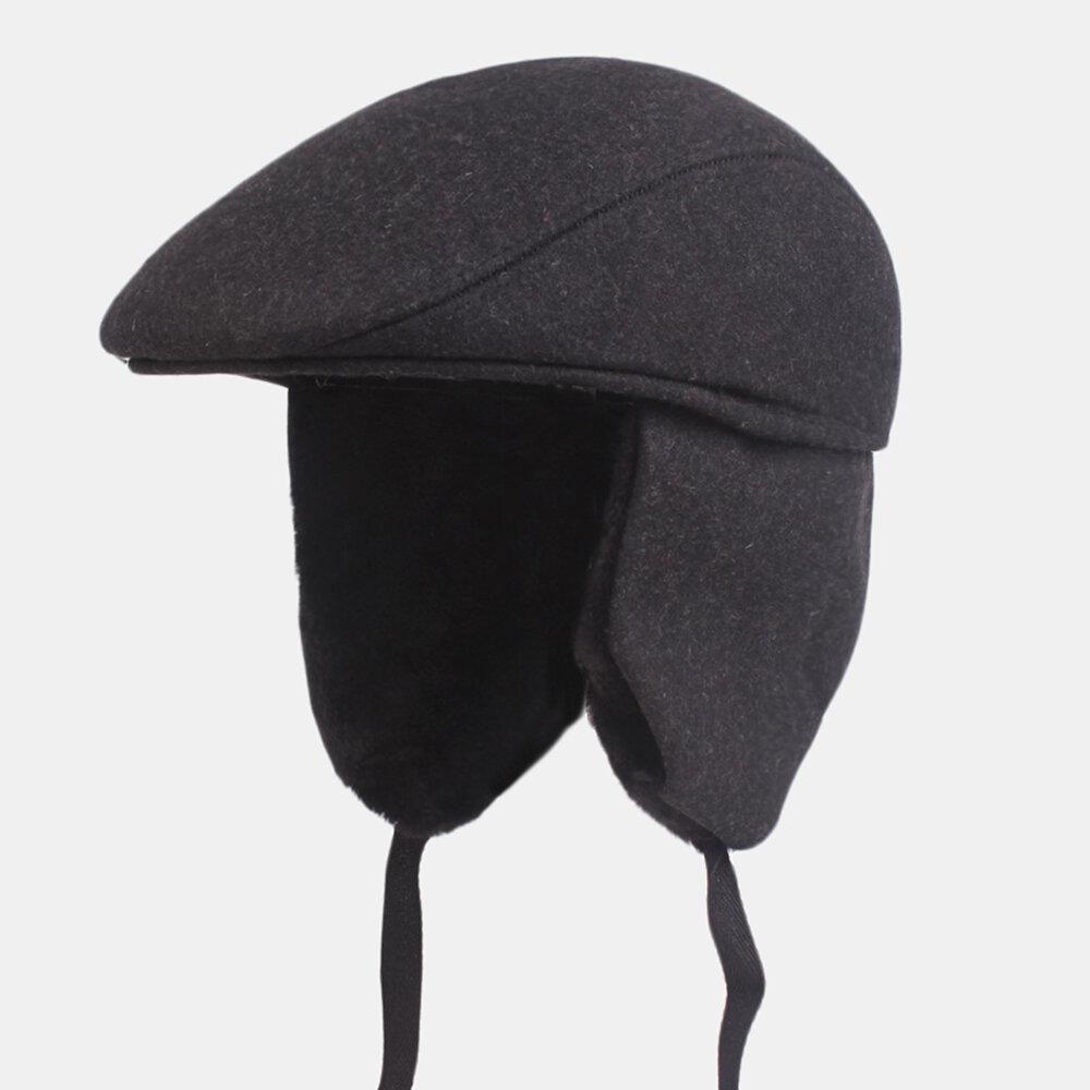 Men Thick Ear Protection Beret Caps Warm Forward Cap
