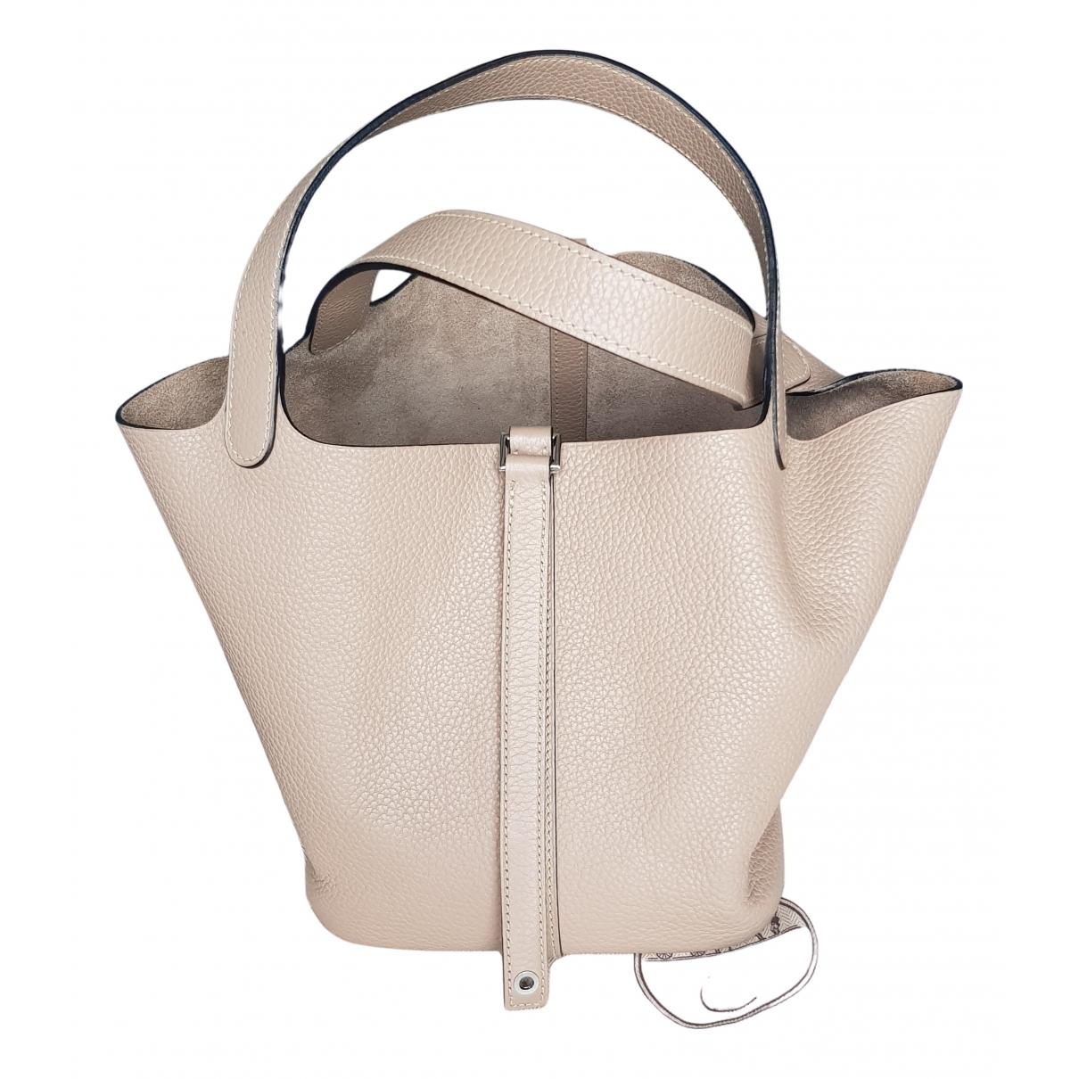 Hermes Picotin Handtasche in  Grau Leder