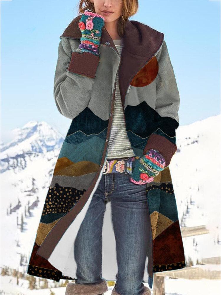 Landscape Print Button Long Sleeve Hooded Woolen Coat