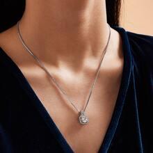 1c Rhinestone Decor Charm Necklace