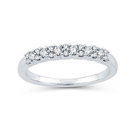 1/4 CT. T.W. Genuine White Diamond 10K White Gold Wedding Band, 7 , No Color Family