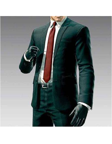 Mens Hitman Agent 47 Dark Green 2Button Notch Lapel Suit